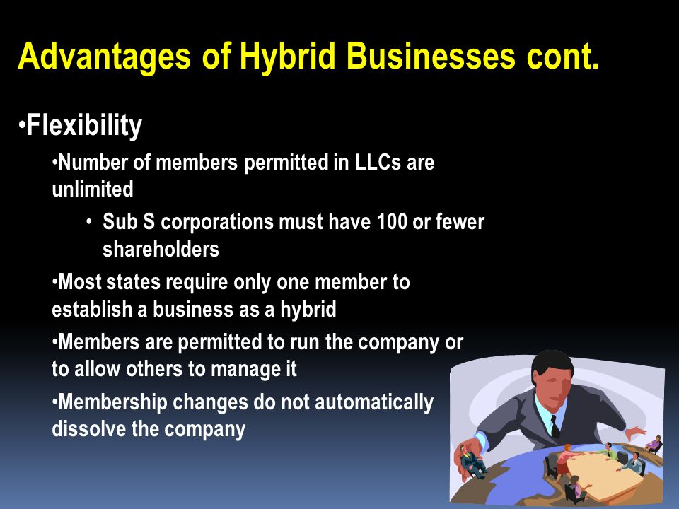 Advantages of Hybrid Businesses cont. Taxation LLCs & LLPs pay taxes on personal income-tax returns Since they are not considered separate entities (l