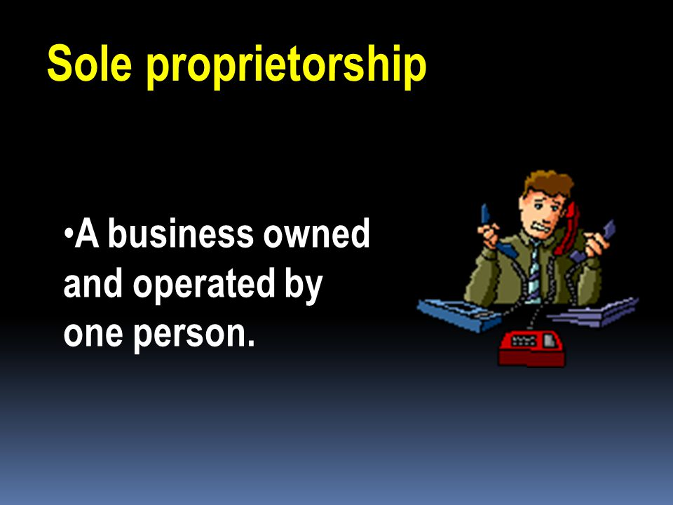 Three basic forms of business ownership Sole proprietorship Partnership Corporation Your choice depends on your needs & goals