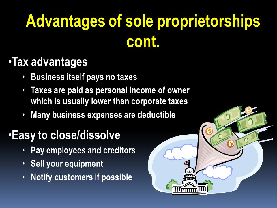 Advantages of sole proprietorships cont. Owner receives all profits. Privacy – owner is the only one who knows details of the business Secret ideas, f