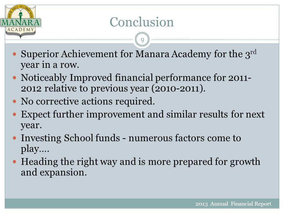 Conclusion 2013 Annual Financial Report 9 Superior Achievement for Manara Academy for the 3 rd year in a row.