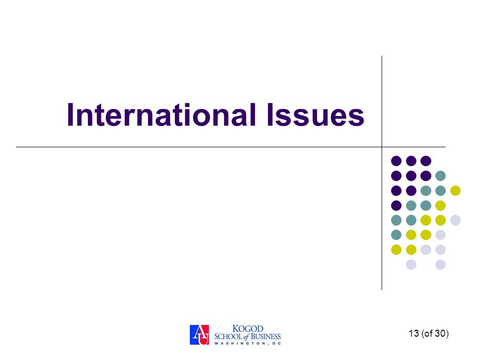 13 (of 30) International Issues