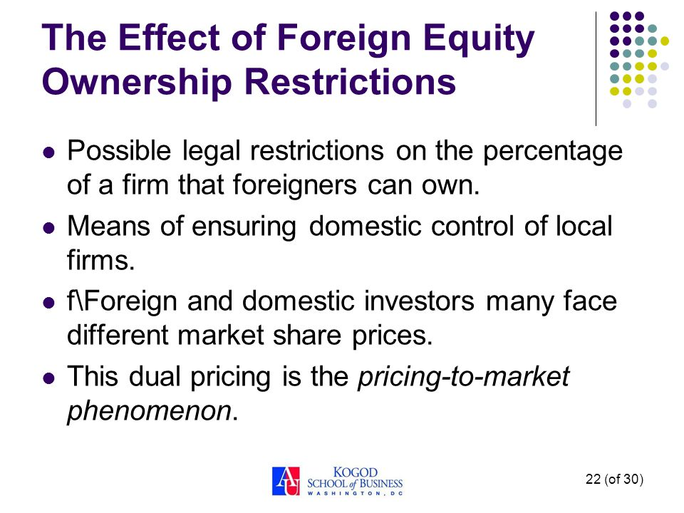 22 (of 30) The Effect of Foreign Equity Ownership Restrictions Possible legal restrictions on the percentage of a firm that foreigners can own.