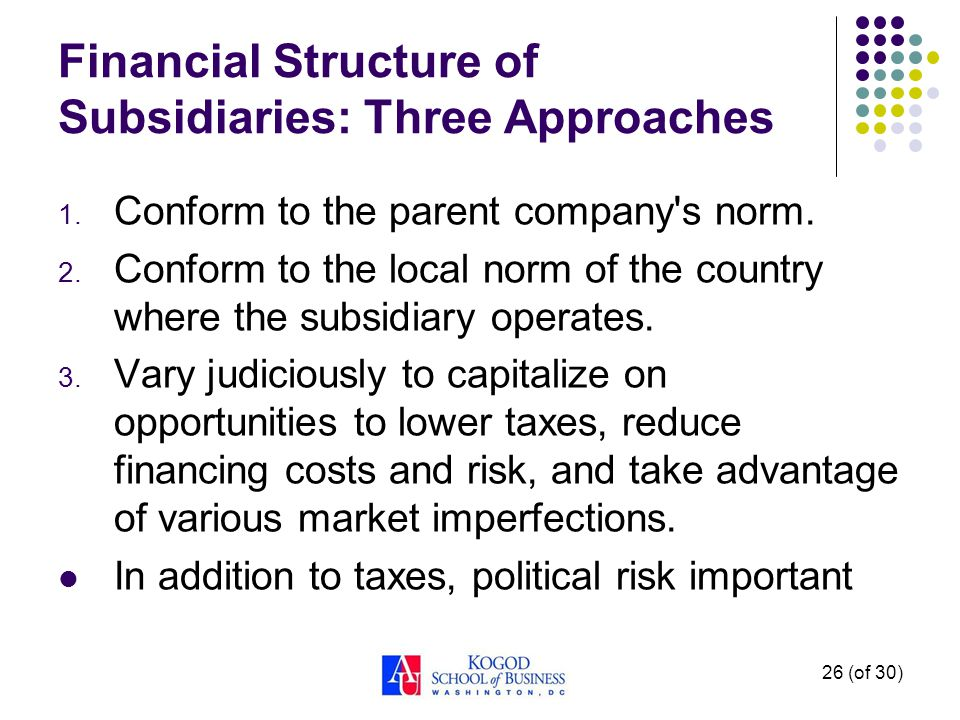 26 (of 30) Financial Structure of Subsidiaries: Three Approaches 1.