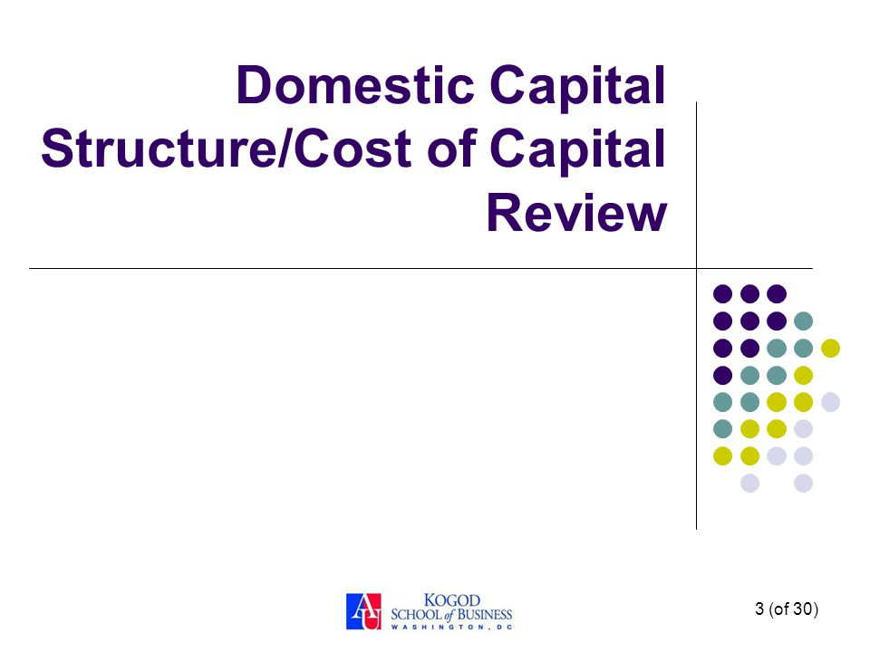 3 (of 30) Domestic Capital Structure/Cost of Capital Review