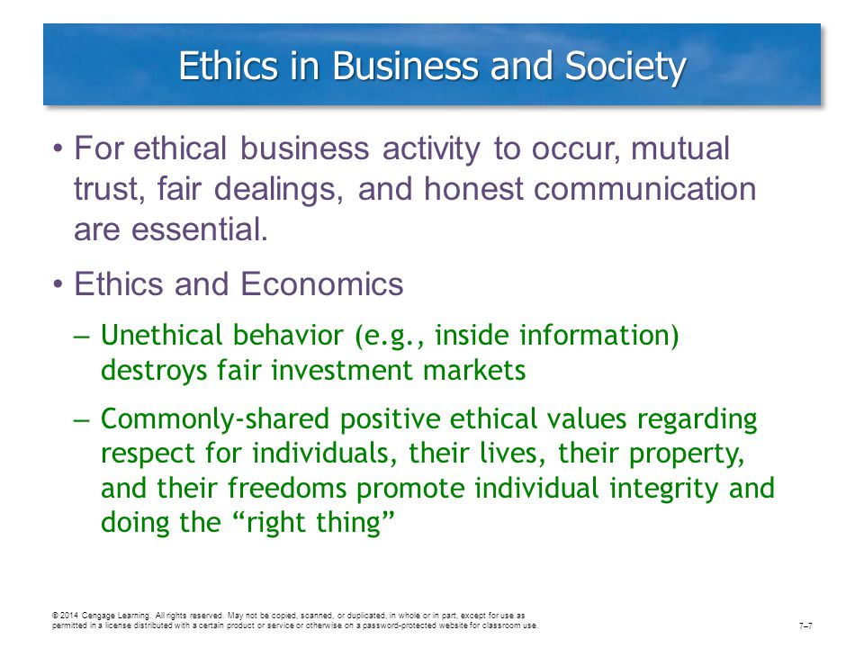 Ethics in Business and Society For ethical business activity to occur, mutual trust, fair dealings, and honest communication are essential. Ethics and