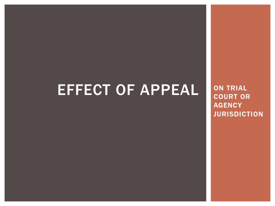 ON TRIAL COURT OR AGENCY JURISDICTION EFFECT OF APPEAL