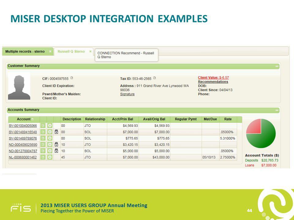 44 MISER DESKTOP INTEGRATION EXAMPLES