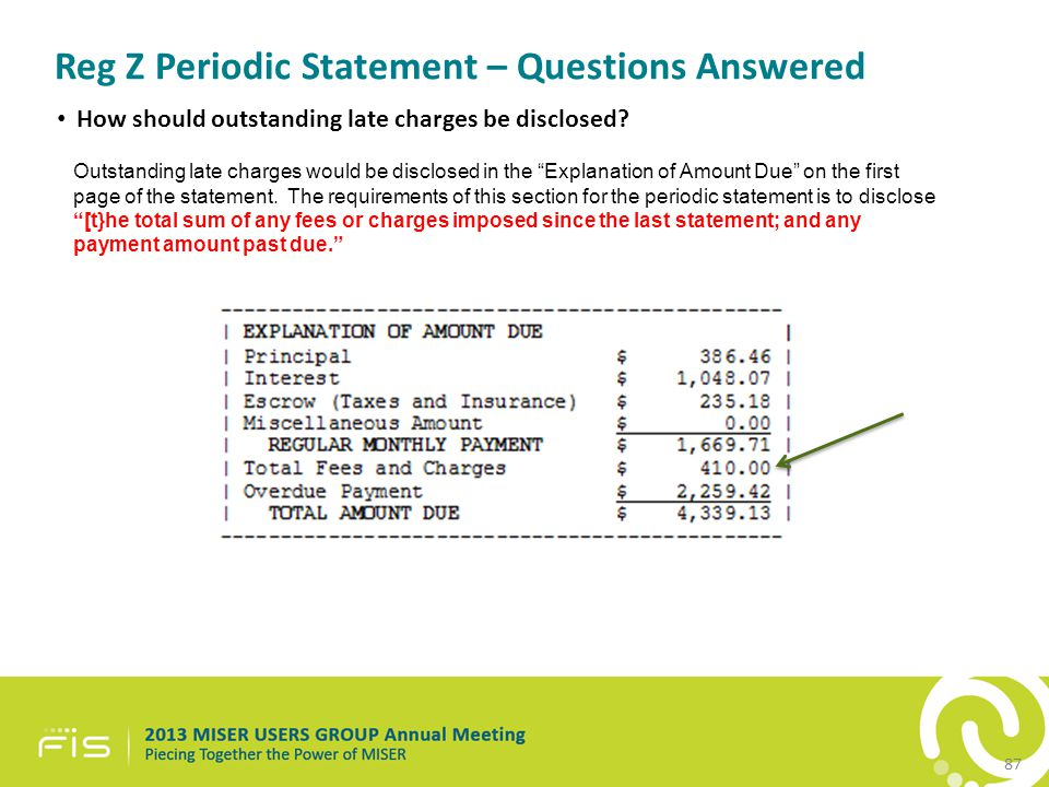 Reg Z Periodic Statement – Questions Answered How should outstanding late charges be disclosed.