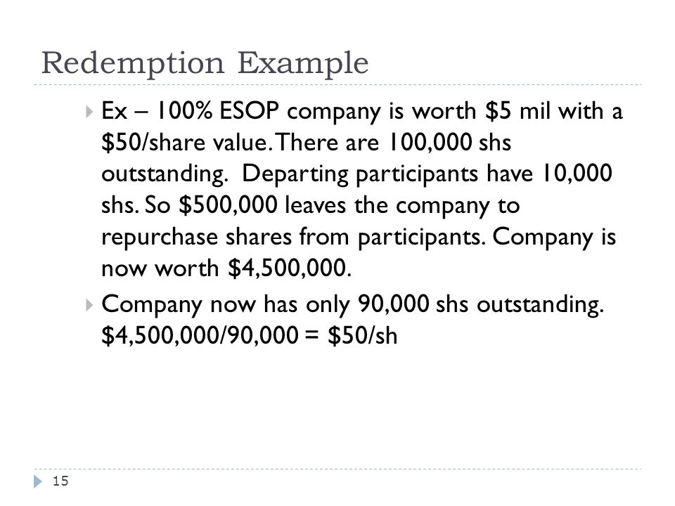 Redemption Example  Ex – 100% ESOP company is worth $5 mil with a $50/share value.