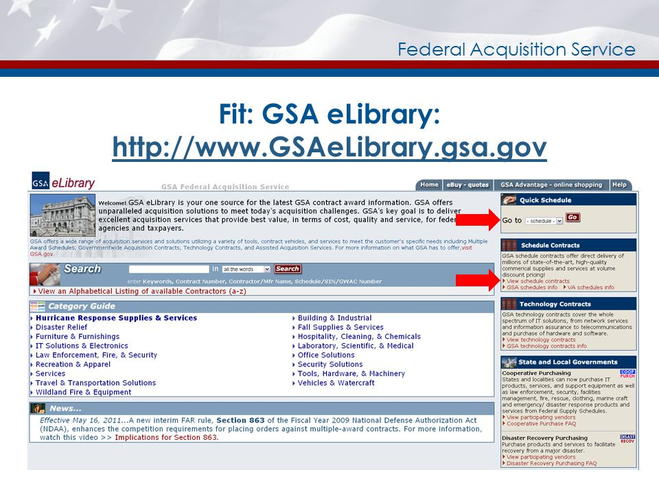 Federal Acquisition Service Fit: GSA eLibrary: http://www.GSAeLibrary.gsa.gov http://www.GSAeLibrary.gsa.gov