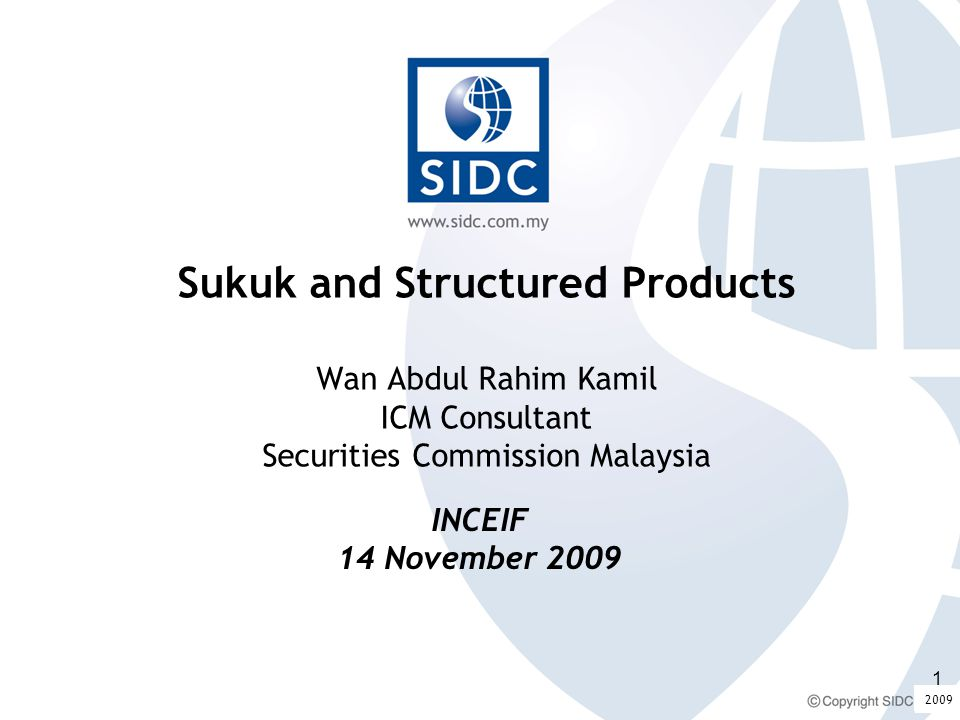 Content What is Sukuk Contracts underlying issuances Payment structures Distinctions between sukuk Modes of issuing sukuk - Asset based: debt securitisation - Asset based: sukuk al ijarah - Asset backed - Investment Sukuk Musharakah between investors: sukuk istithmar Musharakah between investors and issuer Enhancements 2009 2