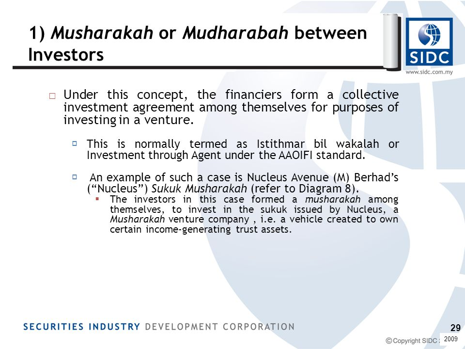 1) Musharakah or Mudharabah between Investors □Under this concept, the financiers form a collective investment agreement among themselves for purposes of investing in a venture.