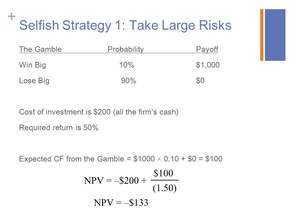 + Selfish Strategy 1: Take Large Risks The GambleProbabilityPayoff Win Big 10%$1,000 Lose Big 90%$0 Cost of investment is $200 (all the firm's cash) Required return is 50% Expected CF from the Gamble = $1000 × 0.10 + $0 = $100 NPV = –$200 + $100 (1.50) NPV = –$133