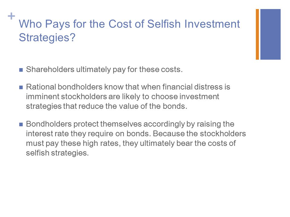 + Who Pays for the Cost of Selfish Investment Strategies.