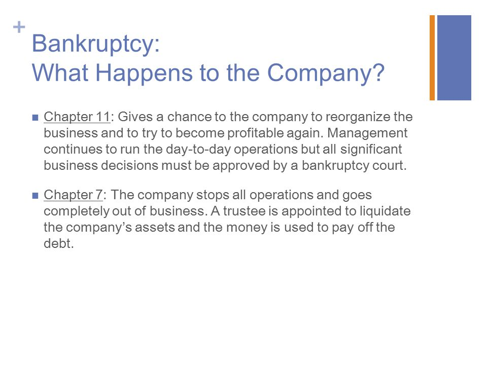 + Bankruptcy: What Happens to the Company.