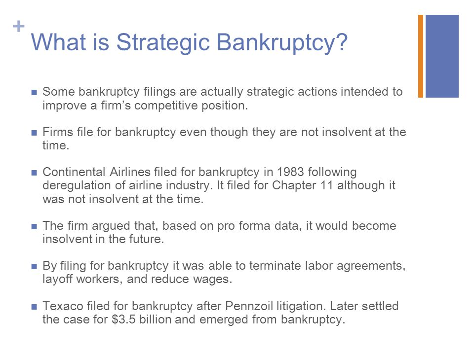 + What is Strategic Bankruptcy.