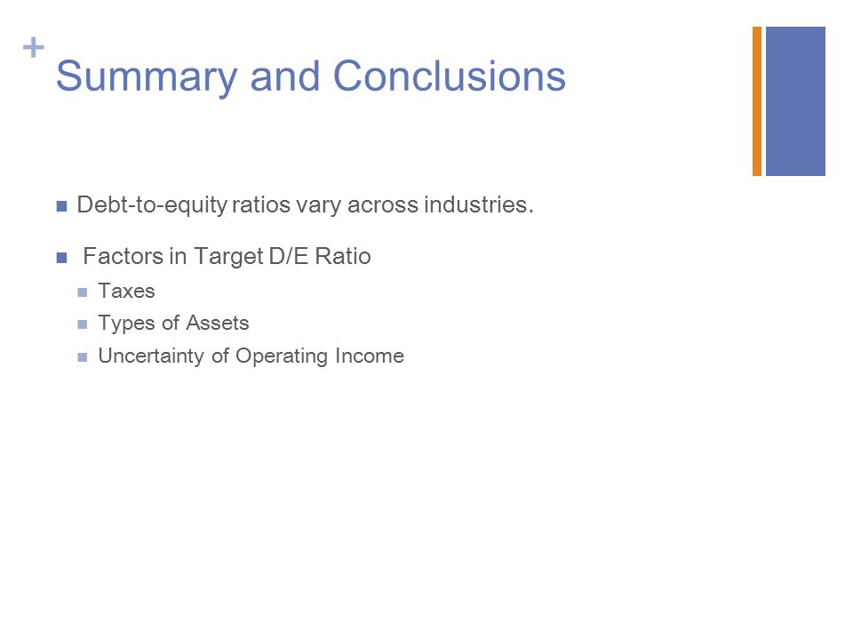 + Summary and Conclusions Debt-to-equity ratios vary across industries.