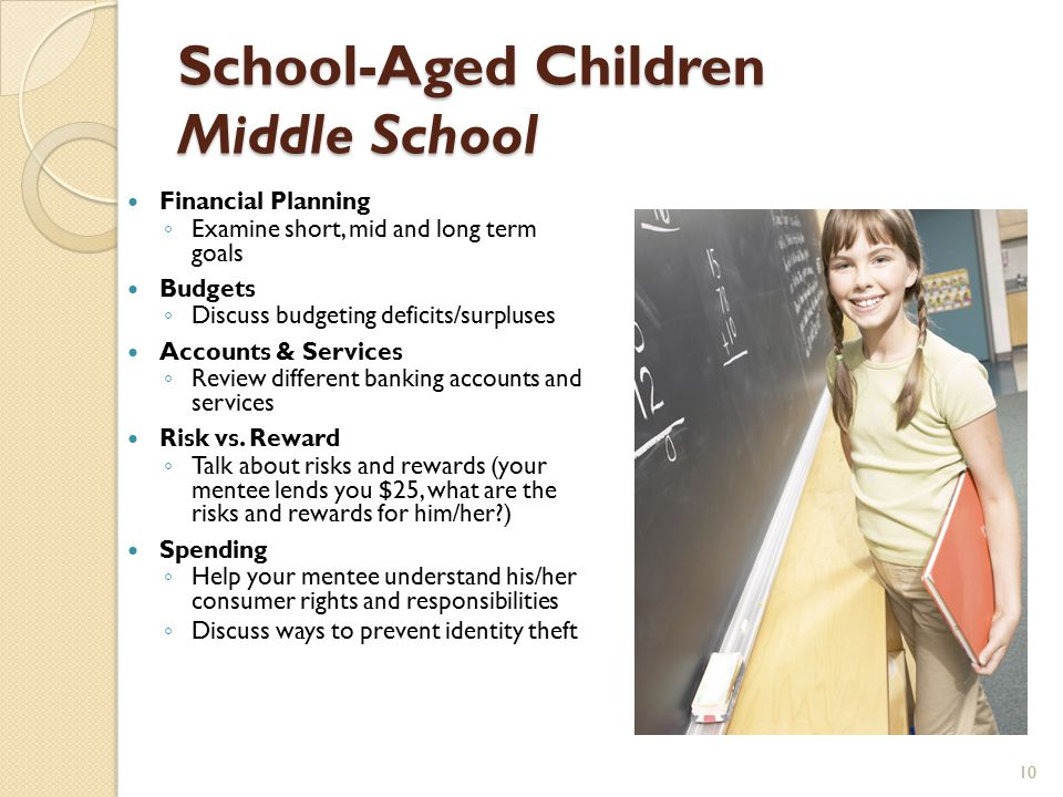 School-Aged Children Middle School Financial Planning ◦ Examine short, mid and long term goals Budgets ◦ Discuss budgeting deficits/surpluses Accounts & Services ◦ Review different banking accounts and services Risk vs.