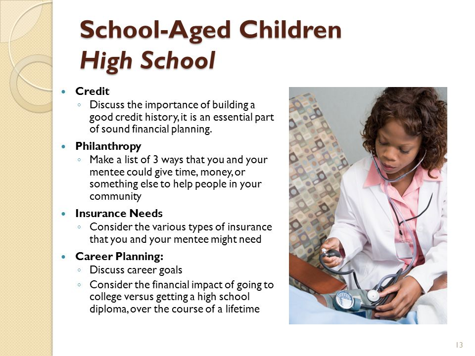 School-Aged Children High School Credit ◦ Discuss the importance of building a good credit history, it is an essential part of sound financial planning.