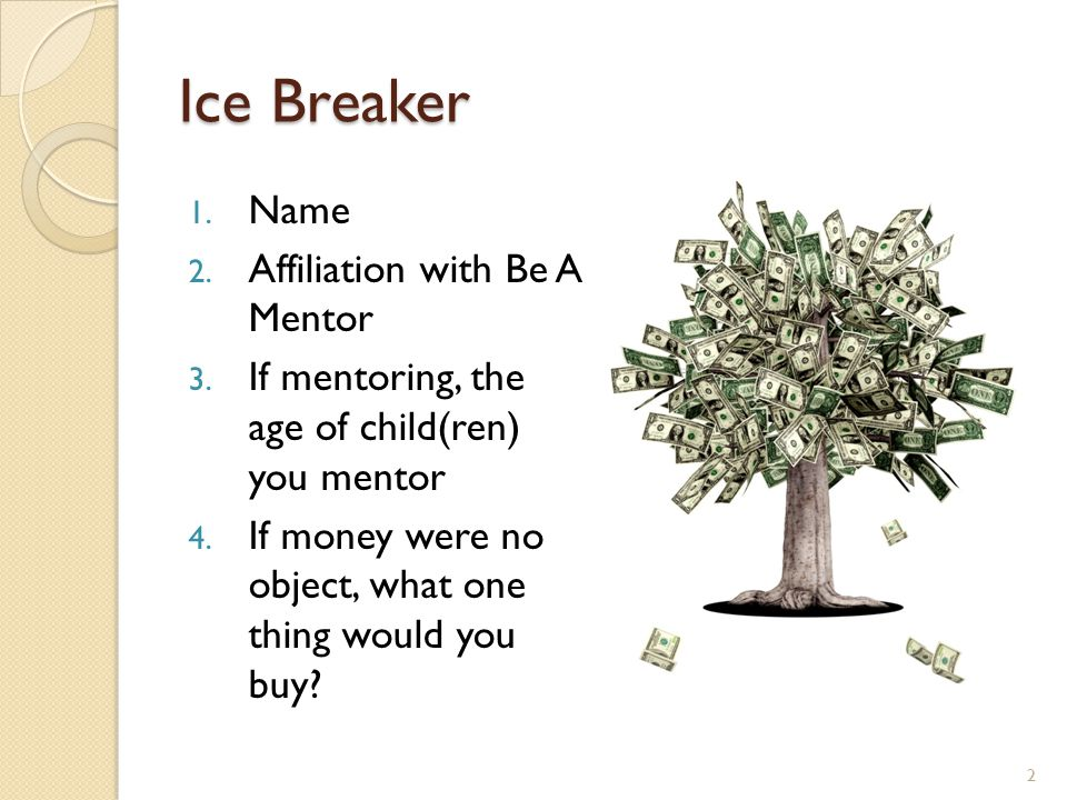 Ice Breaker 1. Name 2. Affiliation with Be A Mentor 3.