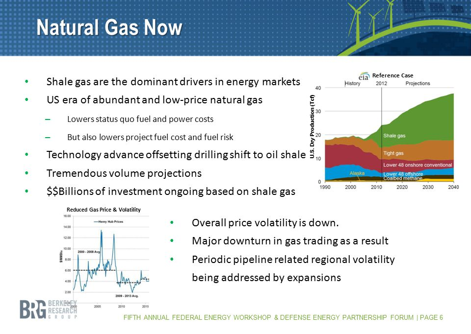 FIFTH ANNUAL FEDERAL ENERGY WORKSHOP & DEFENSE ENERGY PARTNERSHIP FORUM | PAGE 6 Natural Gas Now Shale gas are the dominant drivers in energy markets US era of abundant and low-price natural gas – Lowers status quo fuel and power costs – But also lowers project fuel cost and fuel risk Technology advance offsetting drilling shift to oil shale Tremendous volume projections $$Billions of investment ongoing based on shale gas Reduced Gas Price & Volatility U.S.