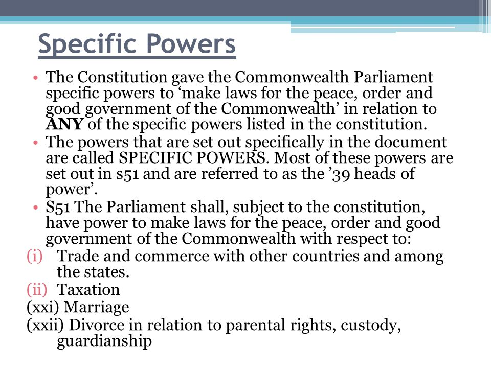 The Division of Power under the Constitution.