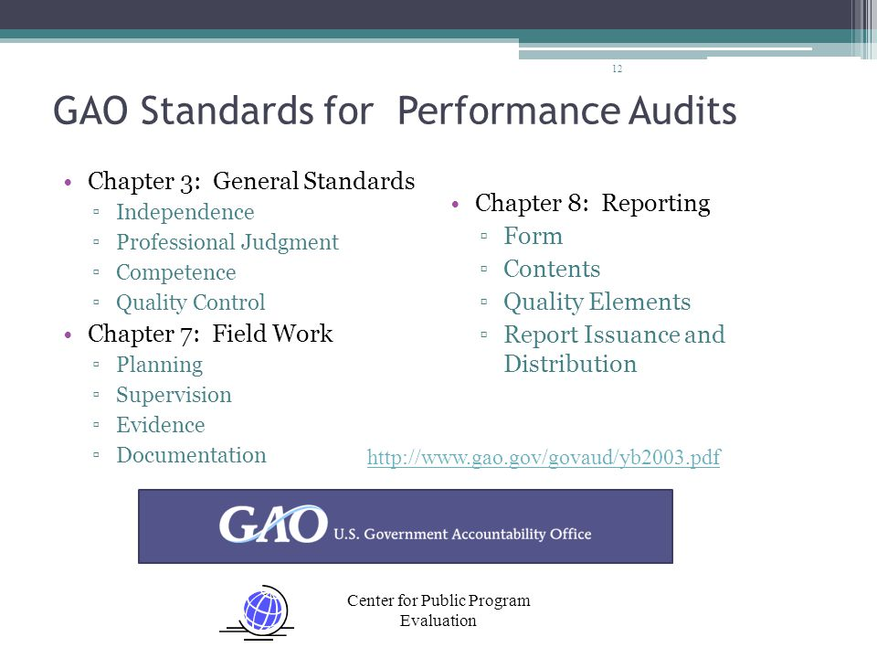 Center for Public Program Evaluation GAO Standards for Performance Audits Chapter 3: General Standards ▫Independence ▫Professional Judgment ▫Competenc