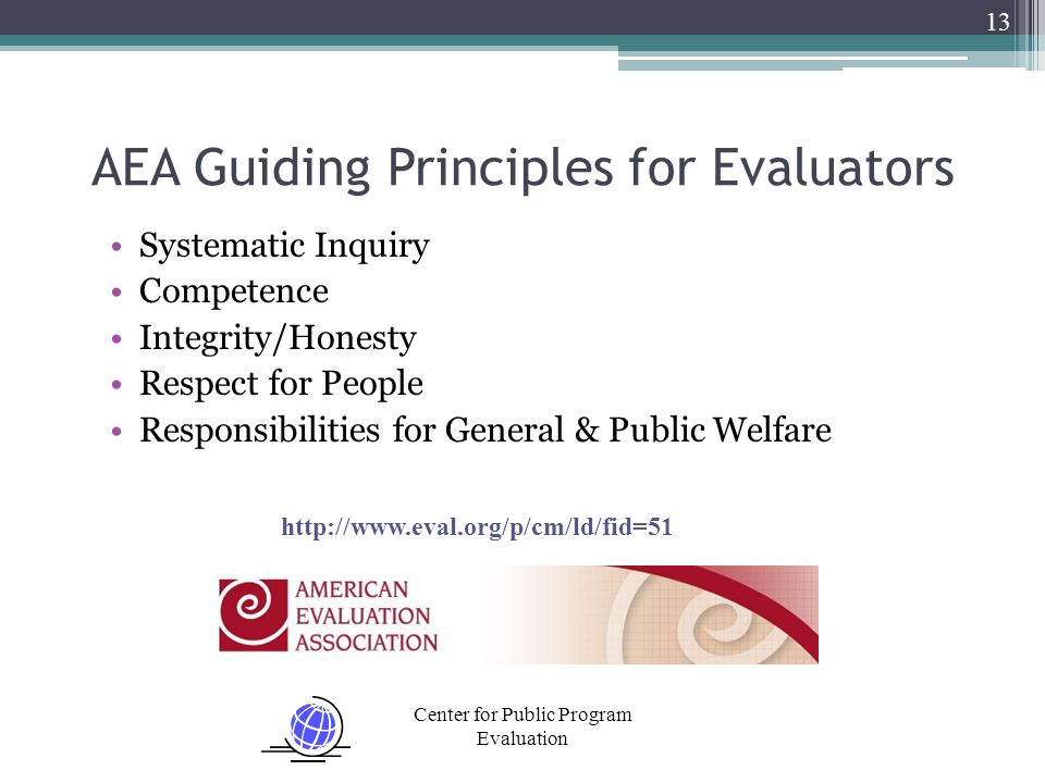 Center for Public Program Evaluation Systematic Inquiry Competence Integrity/Honesty Respect for People Responsibilities for General & Public Welfare 13 AEA Guiding Principles for Evaluators http://www.eval.org/p/cm/ld/fid=51