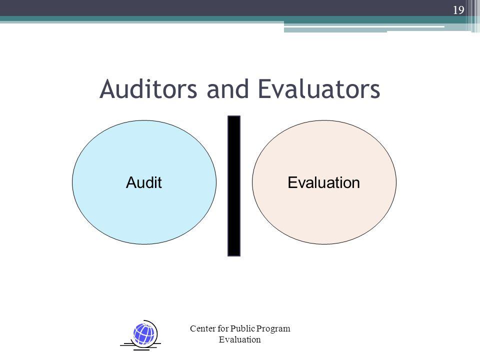 Center for Public Program Evaluation 19 Auditors and Evaluators EvaluationAudit