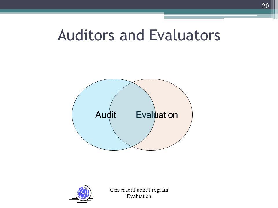 Center for Public Program Evaluation 20 Auditors and Evaluators EvaluationAudit