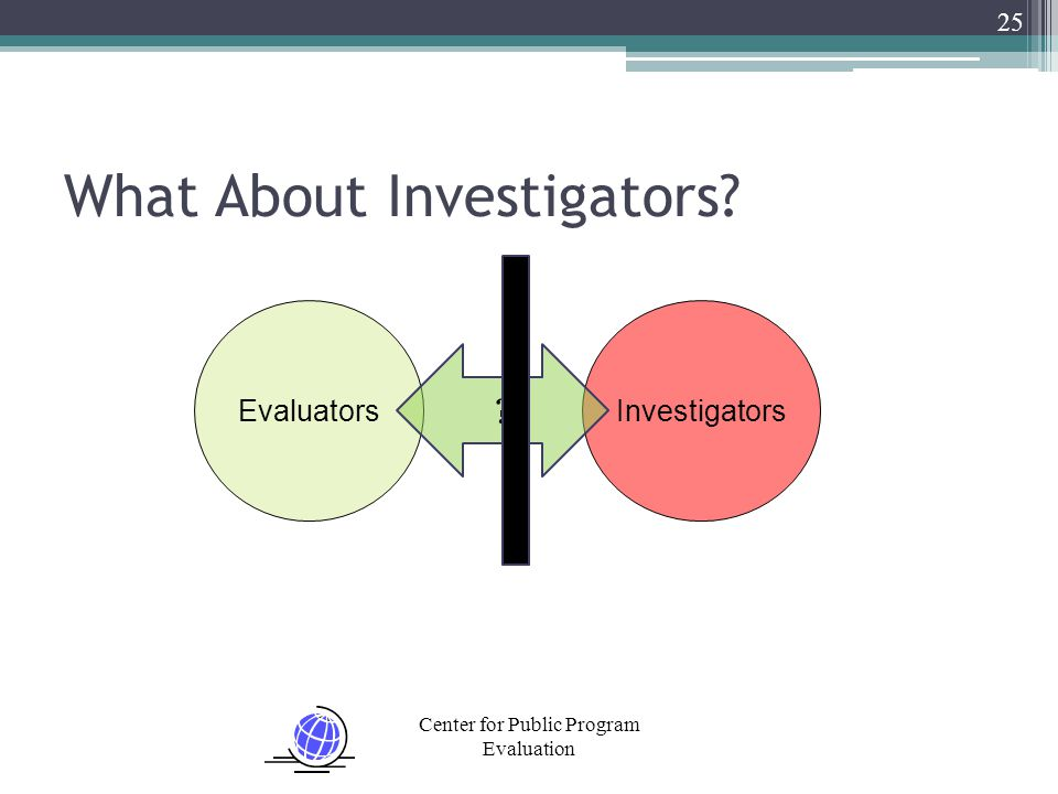 Center for Public Program Evaluation What About Investigators? 25 EvaluatorsInvestigators ?