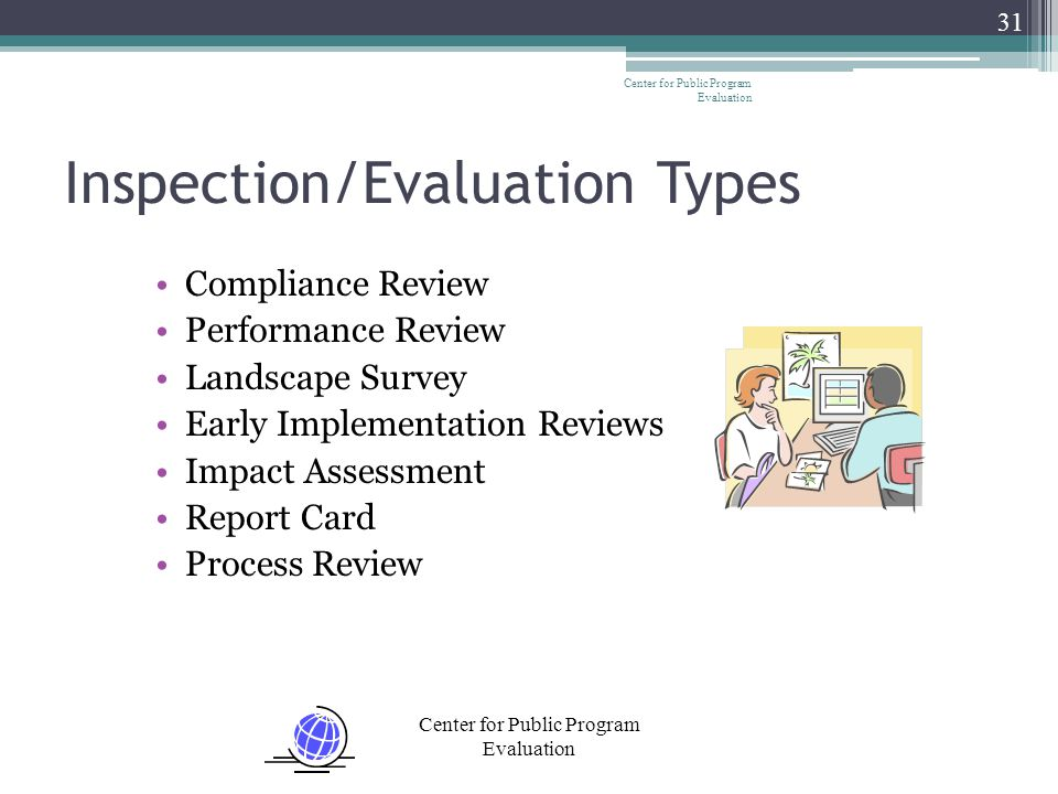 Center for Public Program Evaluation 31 Inspection/Evaluation Types Compliance Review Performance Review Landscape Survey Early Implementation Reviews Impact Assessment Report Card Process Review