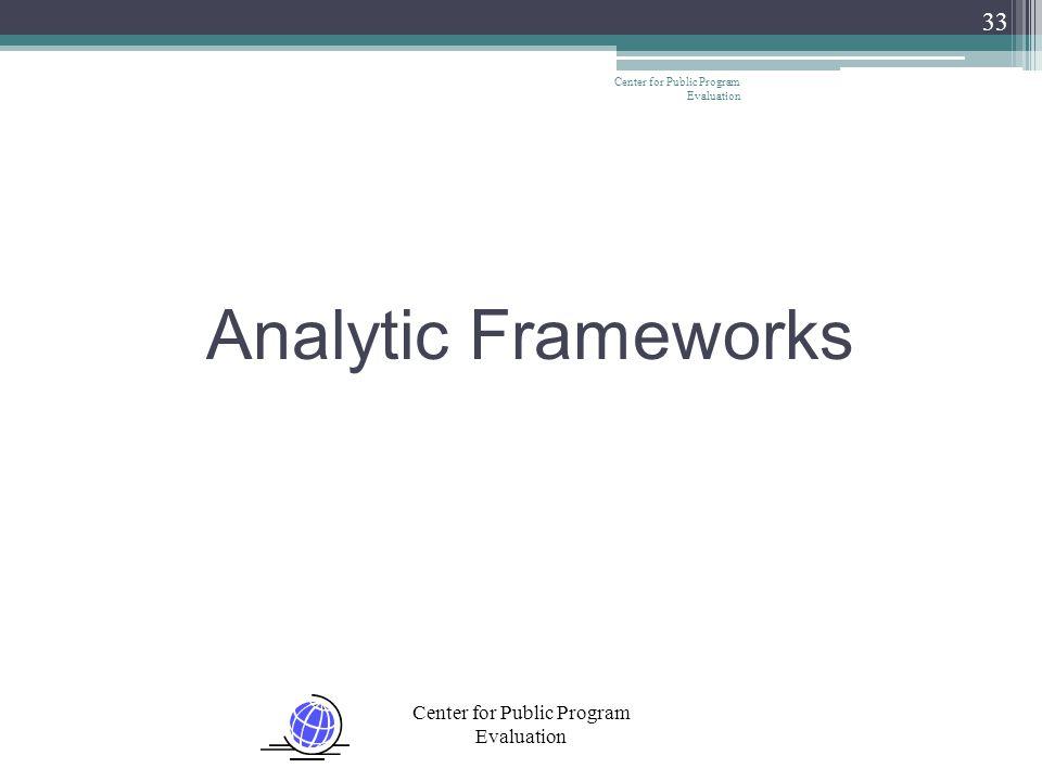 Center for Public Program Evaluation 33 Analytic Frameworks
