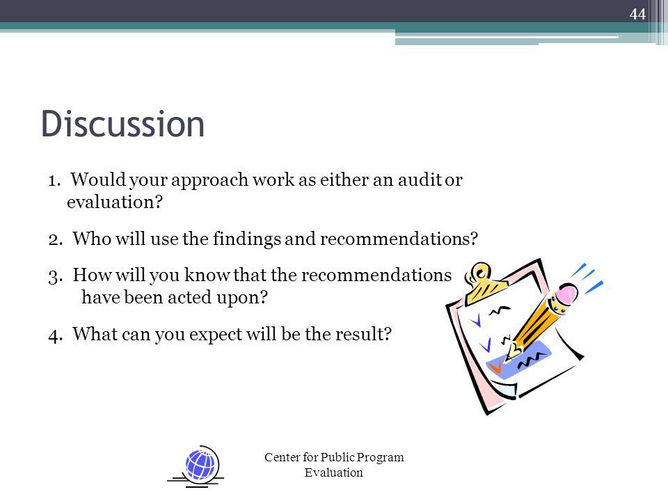 Center for Public Program Evaluation Discussion 1.