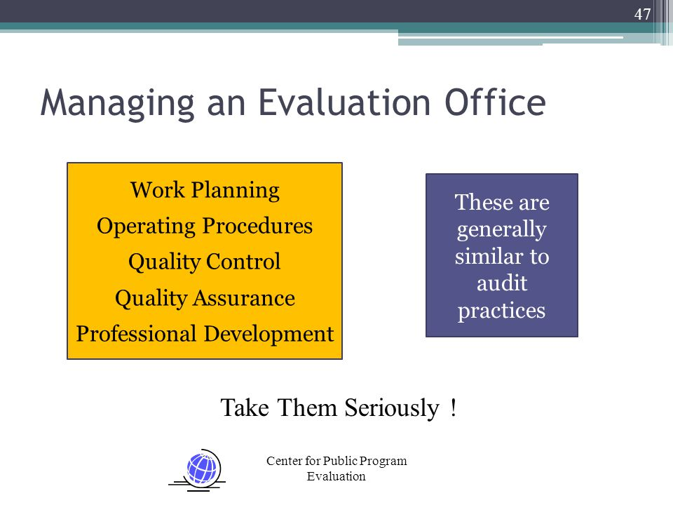 Center for Public Program Evaluation Managing an Evaluation Office 47 Work Planning Operating Procedures Quality Control Quality Assurance Professional Development These are generally similar to audit practices Take Them Seriously !