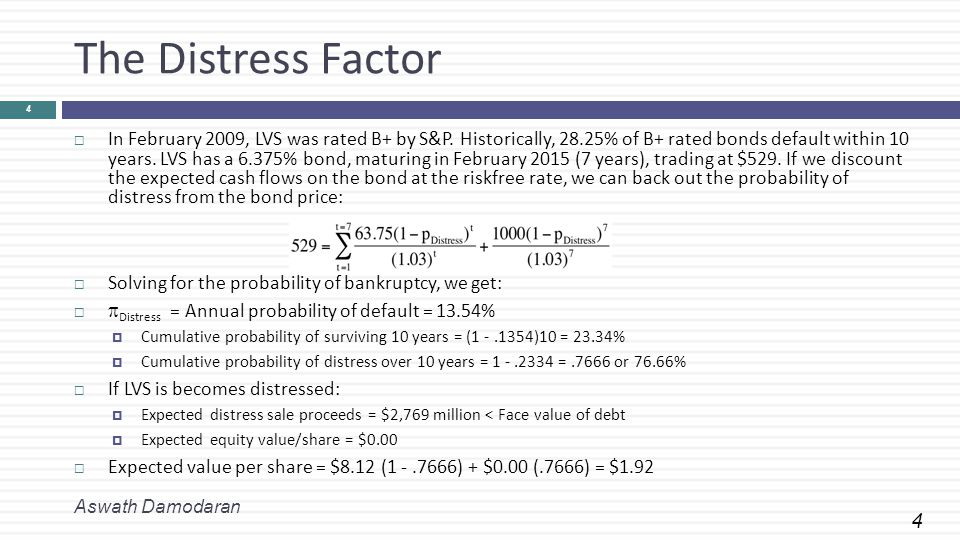 4 The Distress Factor Aswath Damodaran 4  In February 2009, LVS was rated B+ by S&P. Historically, 28.25% of B+ rated bonds default within 10 years.