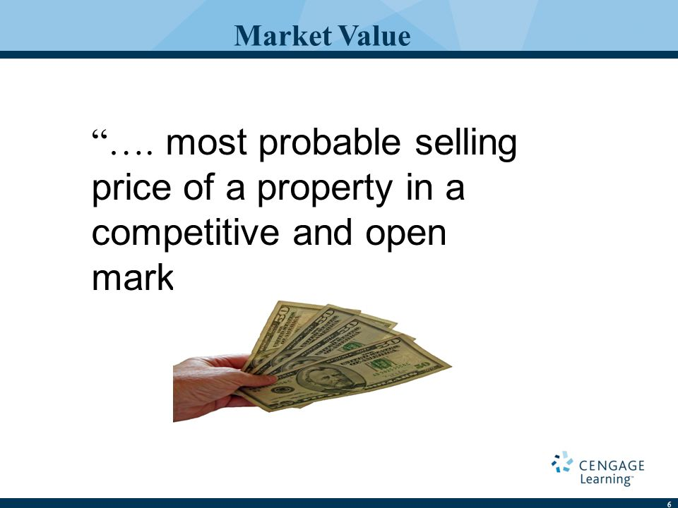 6 Market Value …. most probable selling price of a property in a competitive and open market.