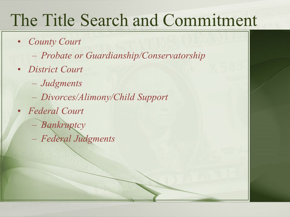 The Title Search and Commitment County Court –Probate or Guardianship/Conservatorship District Court –Judgments –Divorces/Alimony/Child Support Federa