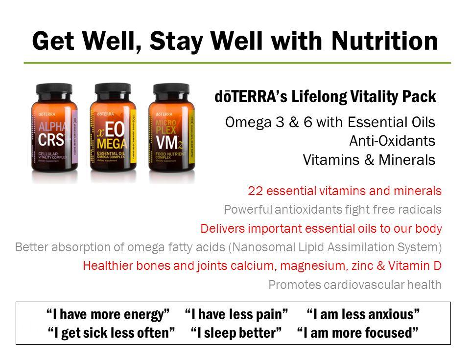 dōTERRA's Lifelong Vitality Pack © 2008 dōTERRA Holdings, LLC, Unauthorized duplication prohibited Omega 3 & 6 with Essential Oils Anti-Oxidants Vitam