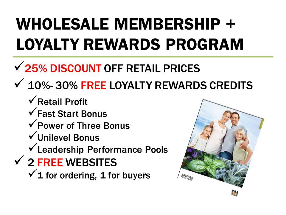 WHOLESALE MEMBERSHIP + LOYALTY REWARDS PROGRAM 25% DISCOUNT OFF RETAIL PRICES 10%- 30% FREE LOYALTY REWARDS CREDITS Retail Profit Fast Start Bonus Pow