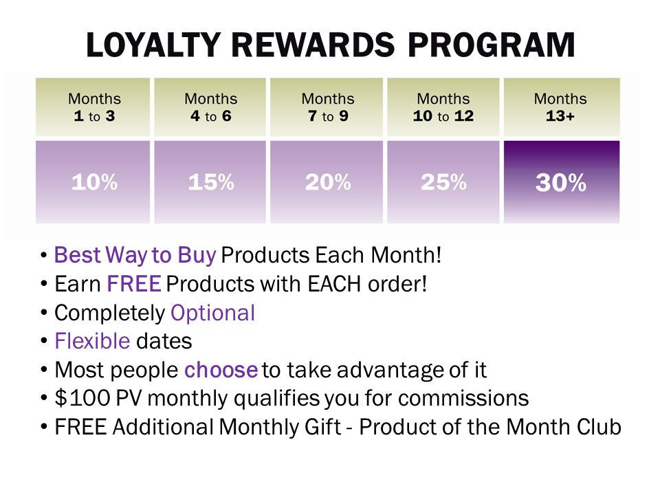 Best Way to Buy Products Each Month! Earn FREE Products with EACH order! Completely Optional Flexible dates Most people choose to take advantage of it