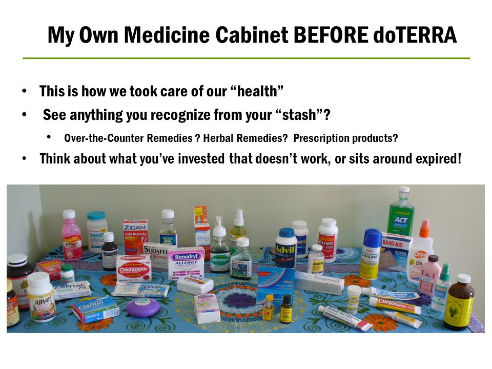 """My Own Medicine Cabinet BEFORE doTERRA This is how we took care of our """"health"""" See anything you recognize from your """"stash""""? Over-the-Counter Remedie"""