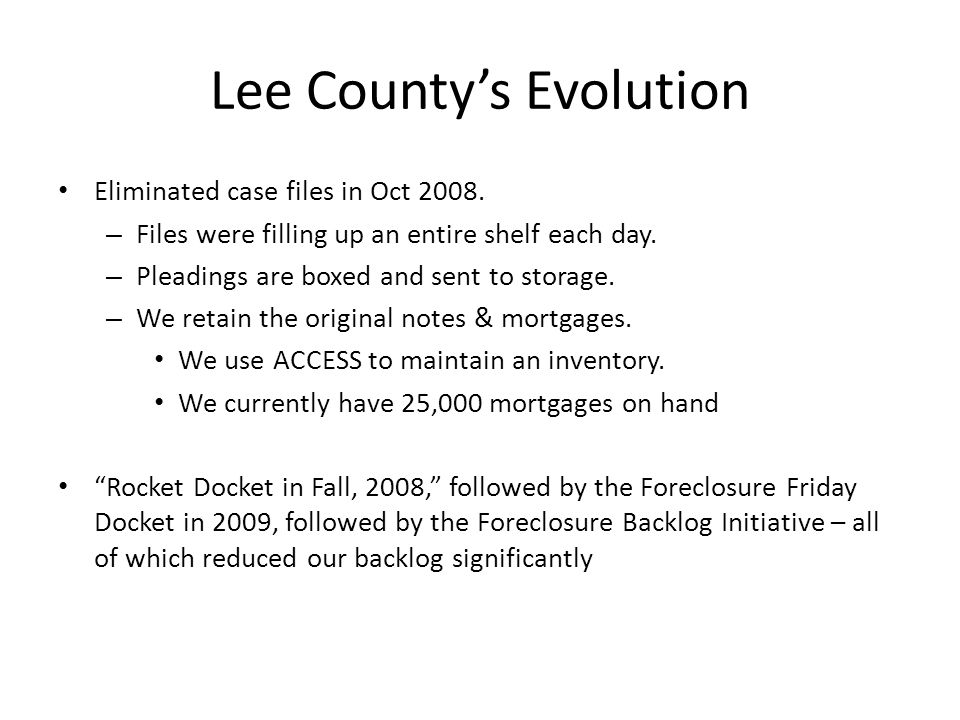 Lee County's Evolution Eliminated case files in Oct 2008.