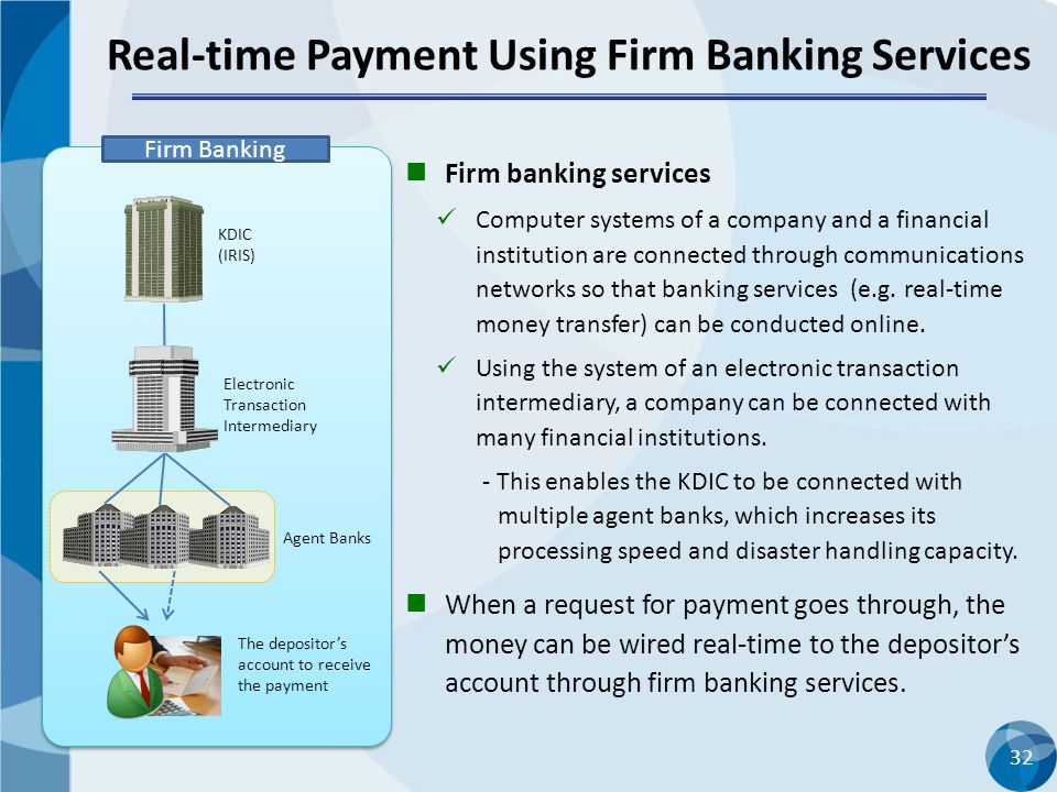 32 Real-time Payment Using Firm Banking Services KDIC (IRIS) The depositor's account to receive the payment Electronic Transaction Intermediary Agent Banks Firm Banking Firm banking services Computer systems of a company and a financial institution are connected through communications networks so that banking services (e.g.