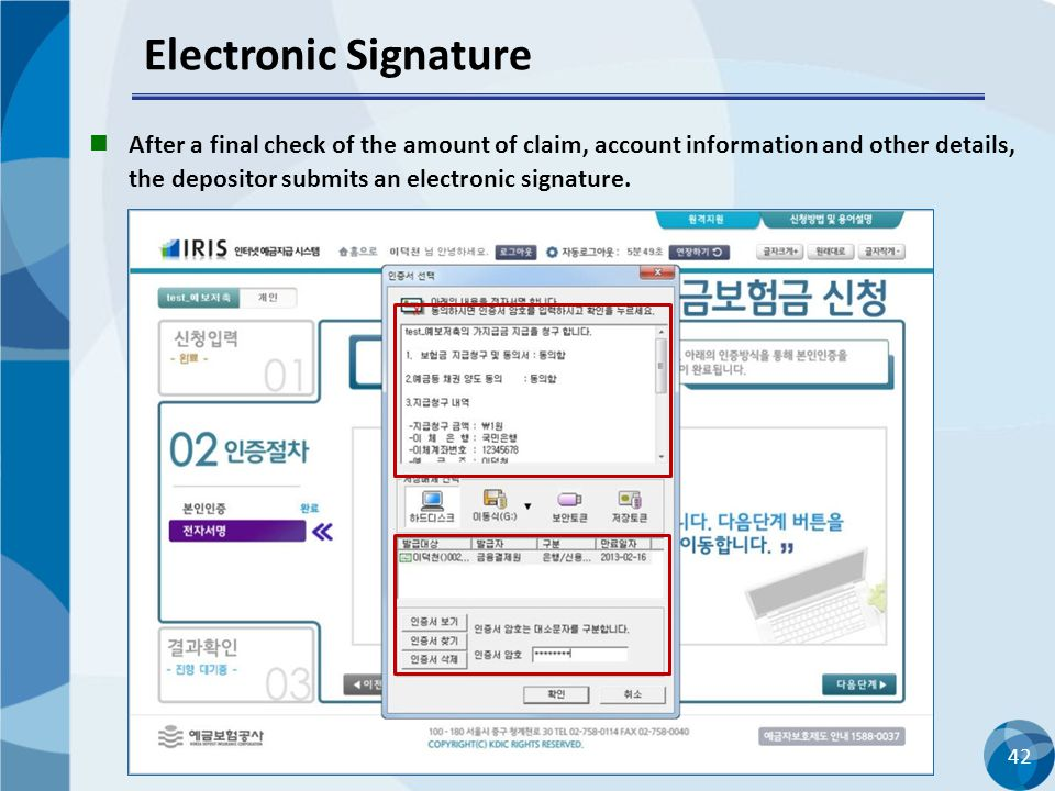 42 Electronic Signature After a final check of the amount of claim, account information and other details, the depositor submits an electronic signatu