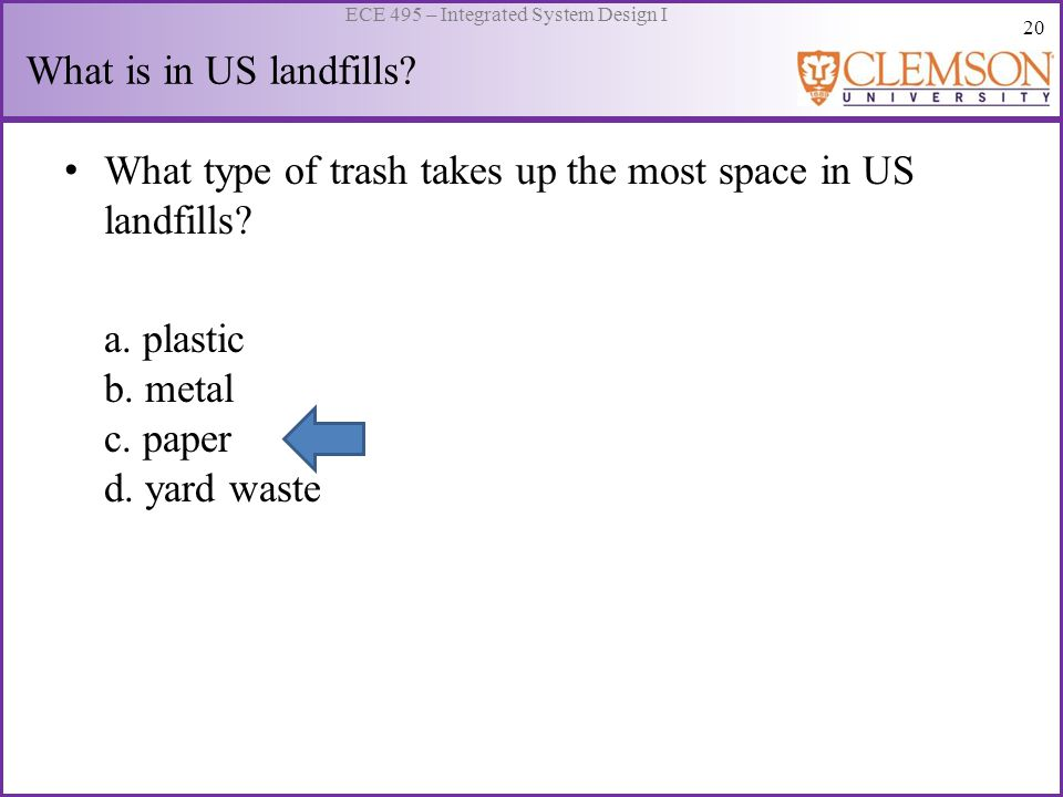 20 ECE 495 – Integrated System Design I What is in US landfills? What type of trash takes up the most space in US landfills? a. plastic b. metal c. pa