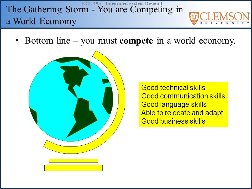 ECE 495 – Integrated System Design I The Gathering Storm - You are Competing in a World Economy Bottom line – you must compete in a world economy.