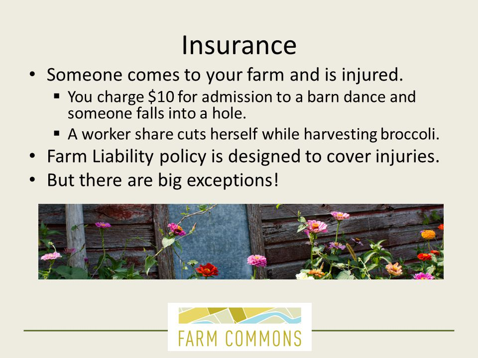 Insurance Someone comes to your farm and is injured.