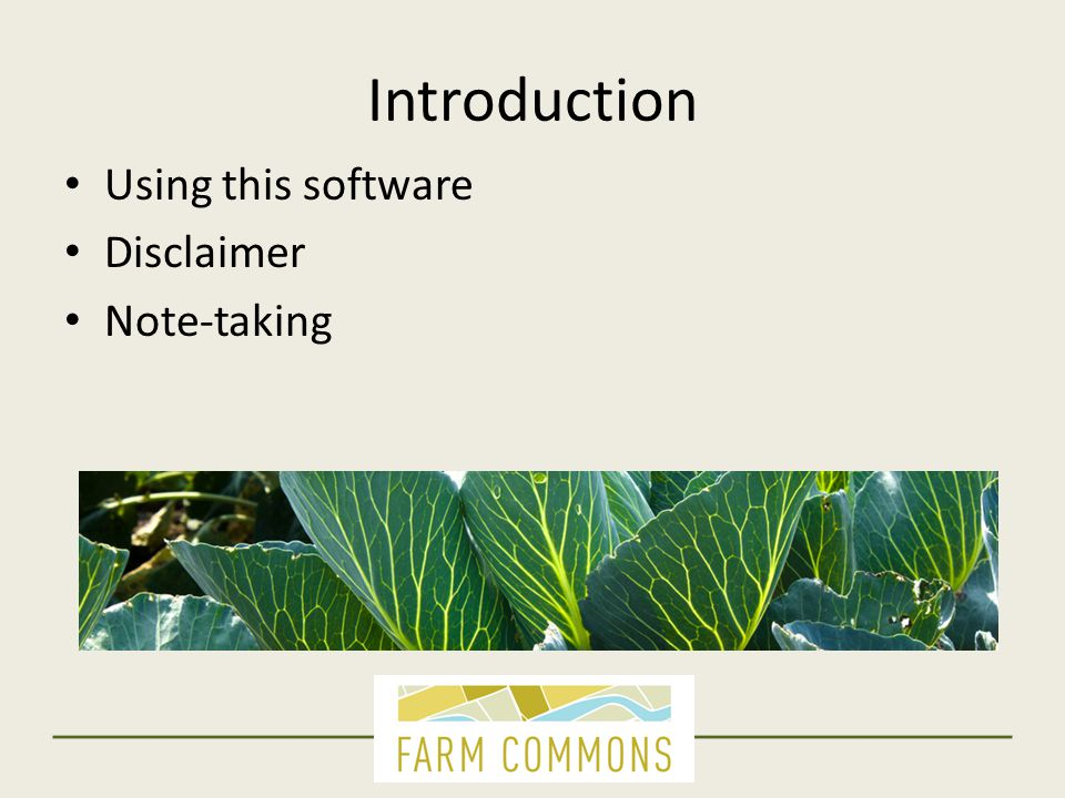 Introduction Using this software Disclaimer Note-taking
