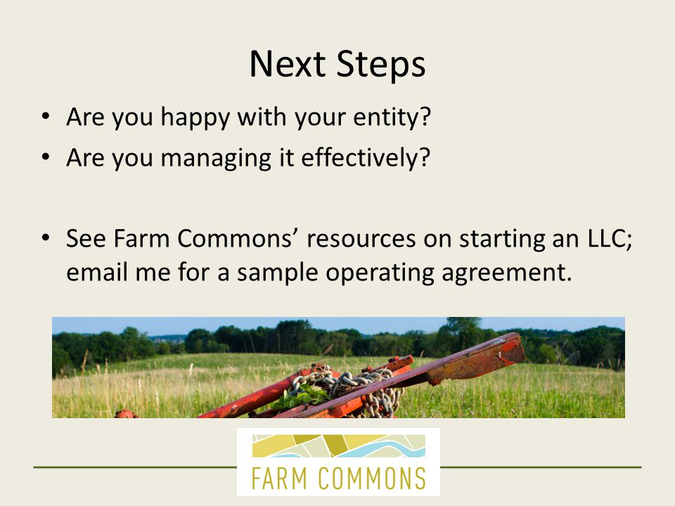 Employees: Next Steps Look closely at your intern and apprentice programs:  FLAG's Internship and Employment publications for federal and MN laws  Farm Commons' guide to investigating your own state laws online Worker Shares: See Farm Commons' model worker share agreement online In-kind wages: Talk with a qualified attorney Independent Contractors: Start with IRS Publication 15a